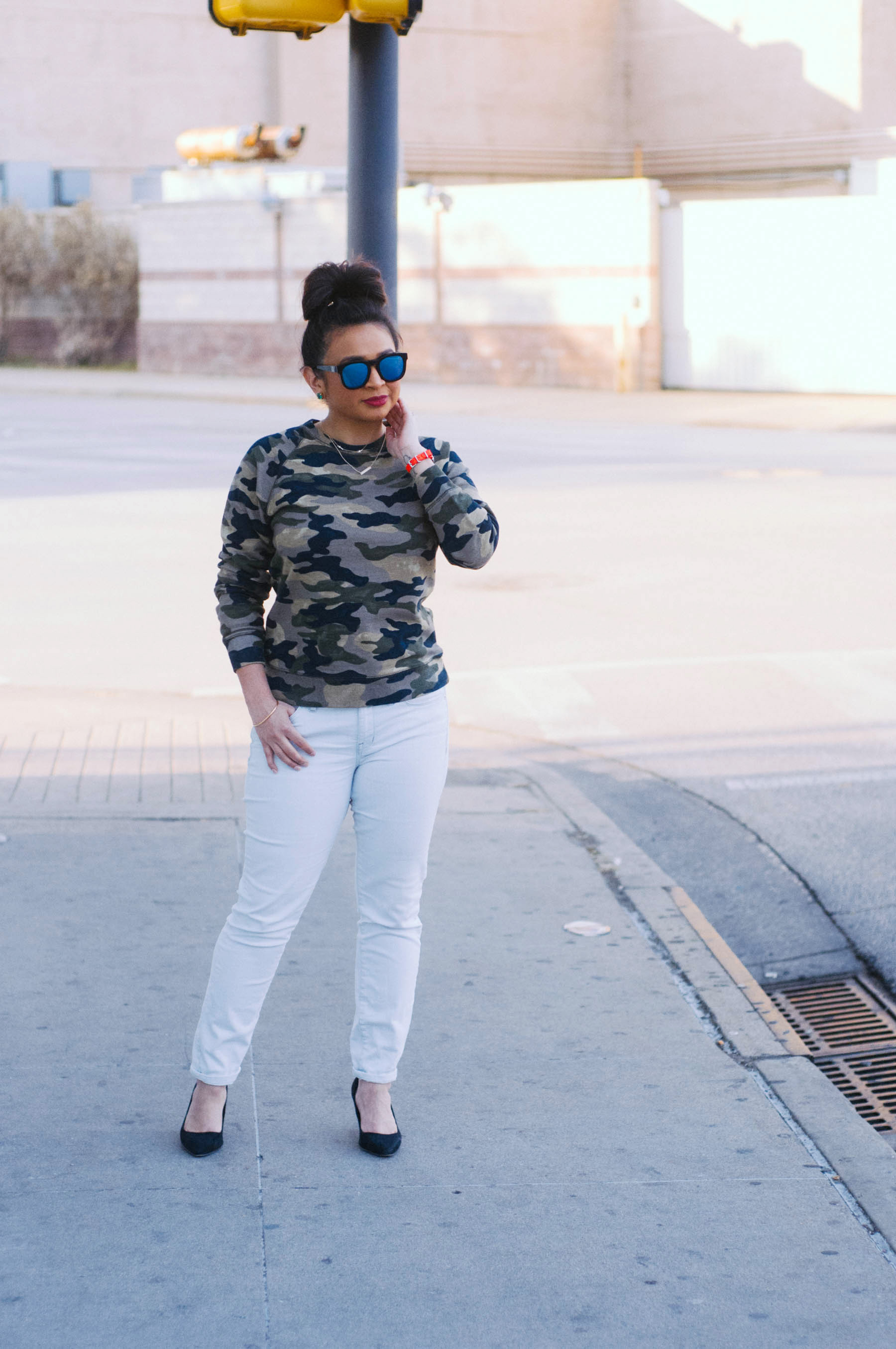 Sweatshirt:  J.Crew  | Jeans:  Madewell  | Shoes: H&M (similar  here ) | Sunglasses:  Wildfox  |  Watch  &  Strap : J.Crew | Earrings:  Kate Spade  | Necklaces:  Urban Outfitters | Lipstick:  Ruby Woo (MAC)