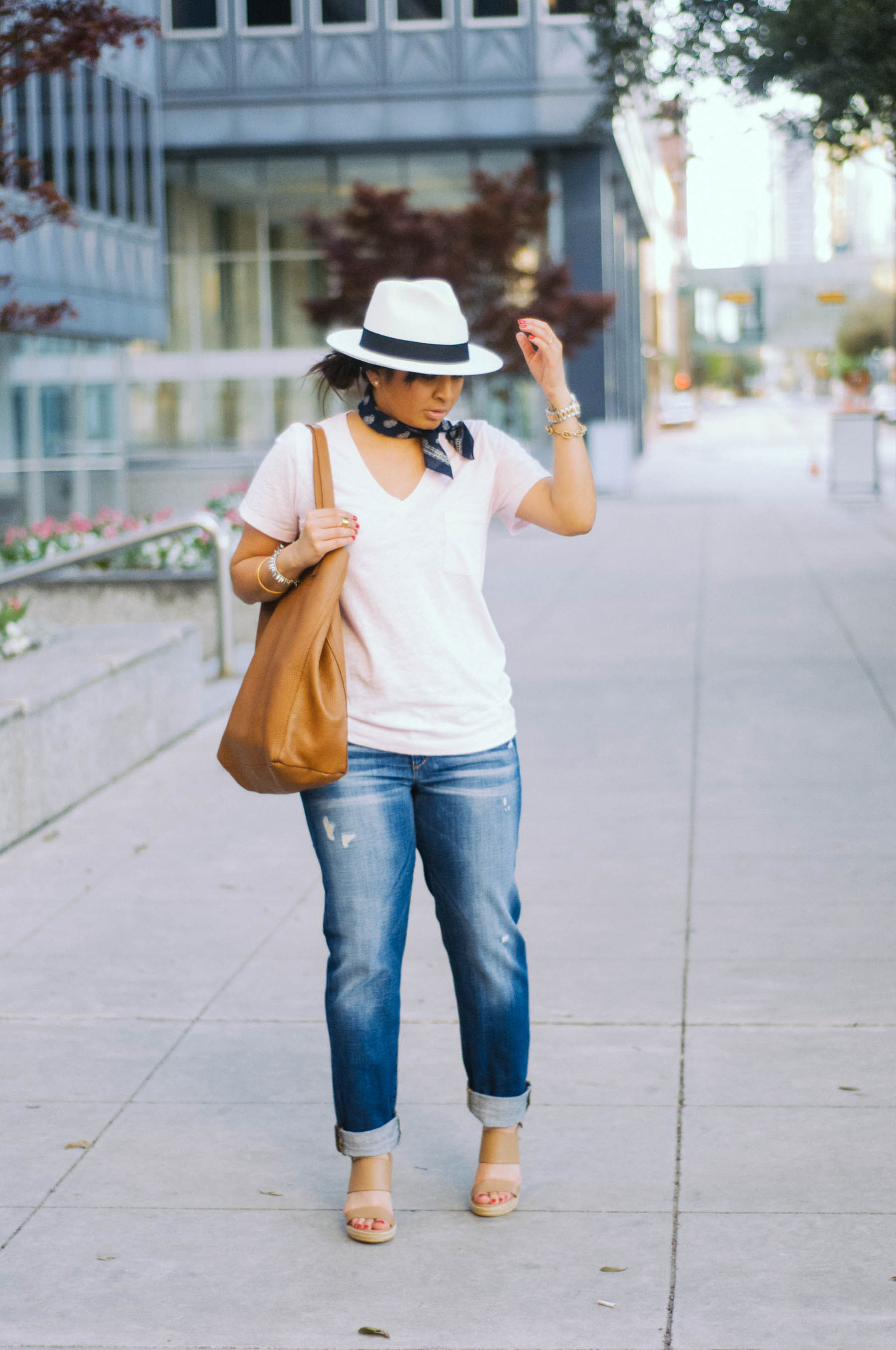 Hat:  J.Crew  | T-Shirt:  Madewell  | Jeans: Joe's (check  these  out) | Shoes:  Charles David  | Handkerchief:  Madewell  | Watch:  Fossil  | Jewelry: J.Crew Factory (gotta love this  guy ), Stella & Dot | Bag: Cuyana (obsessed with  this one )