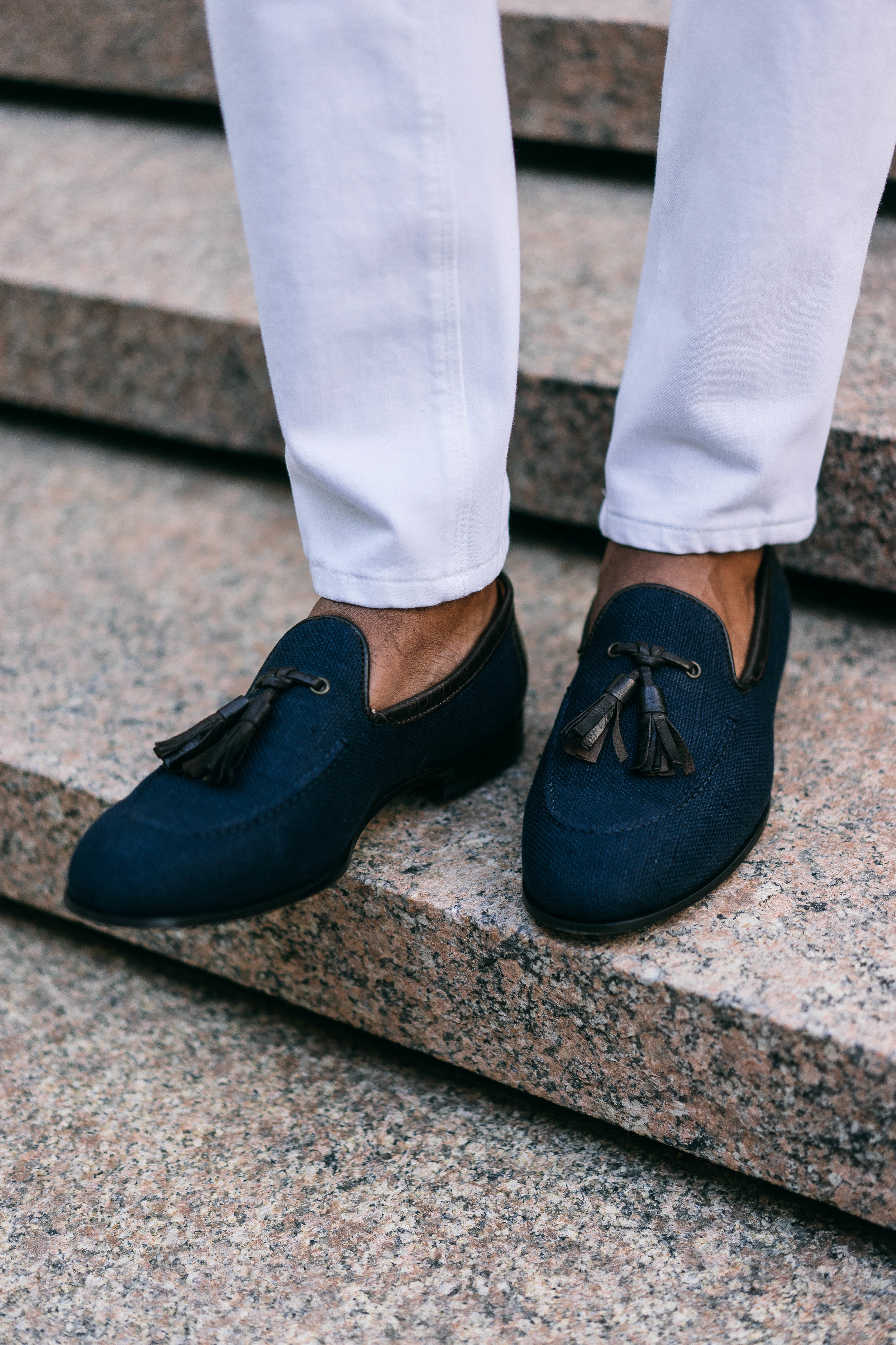 """I also wanted to mention these new beauties. I was in need of some new navy tassel loafers and thought, """"surely I'll replace my suede pair with another suede pair""""... Then along came these canvas stunners from the SUITSUPPLY sale. The sale is over, but I highlight these to encourage you to  think outside the box  if/when looking for a twist on a staple."""