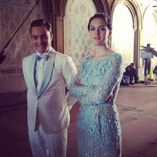 Chuck perfectly matches Blair's Elie Saab and it's not cheesy at all