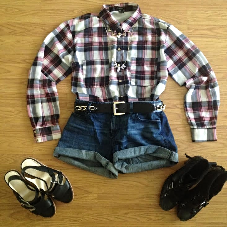 Shorts- J.Crew, shirt- Forever 21, belt- Michael Kors, boots- Ninewest, platform sandals- Coach, necklaces- Forever 21