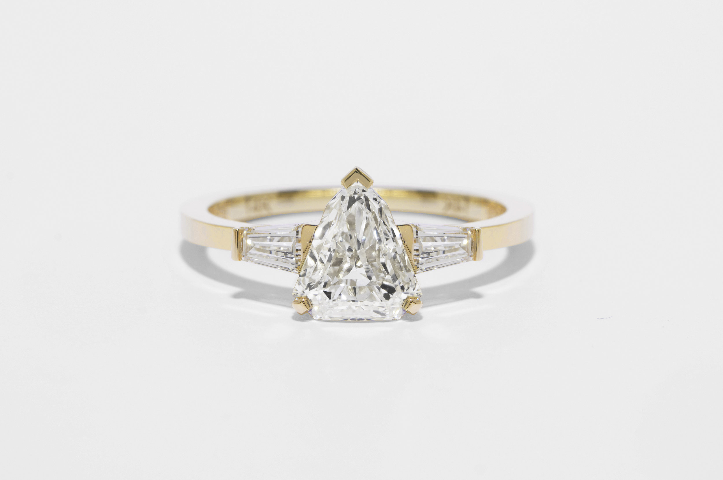 Shield Diamond Ring with Tapered Baguette Diamonds