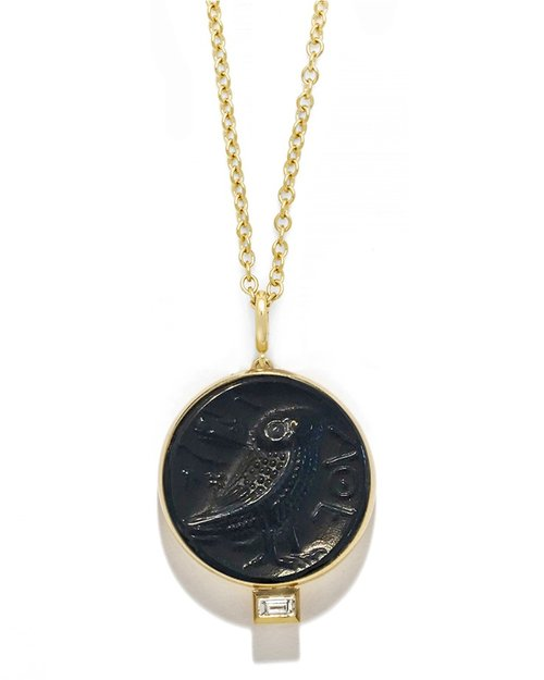 Owl of Athena Baguette Diamond Coin Necklace