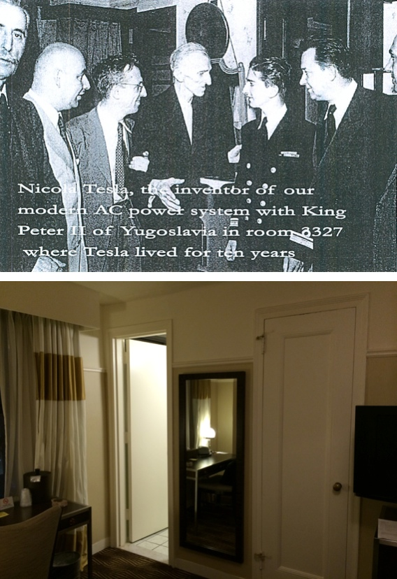 Nicola Tesla with King Peter II of Yugoslavia in Room 3327 - June 1942 (Top) and September 2014 (Bottom)