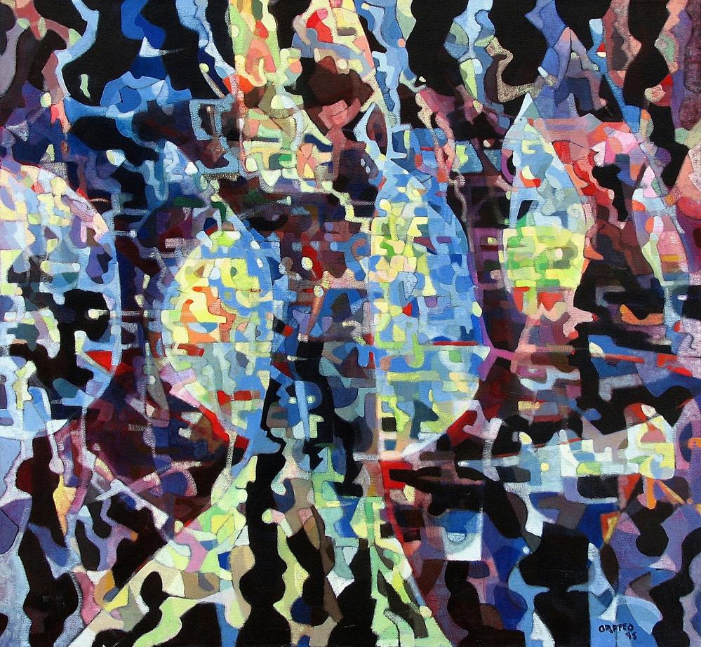 "New World s 1998 36"" x 39"" acrylic on canvas"