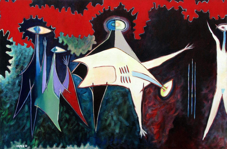"""The Sacrifice  1987 48"""" x 72"""" acrylic on canvas"""