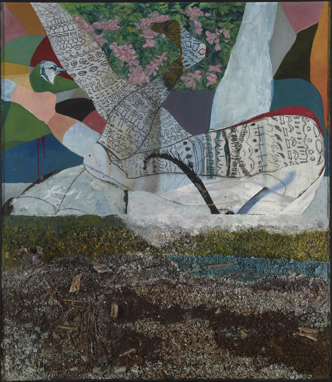 "Devil's Hole,  2016, 48"" x 52"", mixed media on canvas"