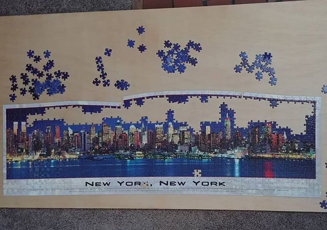 Thrift store puzzle, so some pieces are missing. All that's left is blue and I'm *this close* to just giving up.