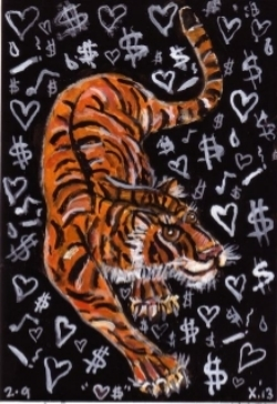 Tiger . Drawing by  Frank X. Tolbert2