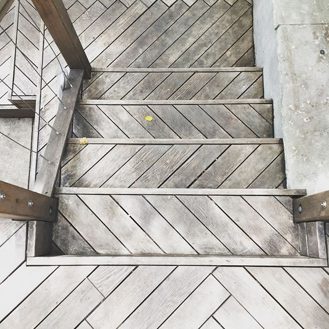 At this trendy hybrid coffee/barber shop, it pays off to watch where you step . . . . #2yokedesign #shaveandahaircut #coffeetime #brooklynlife #herringbone #silverwood #brooklyndesign #outdoorcafe #godisinthedetails