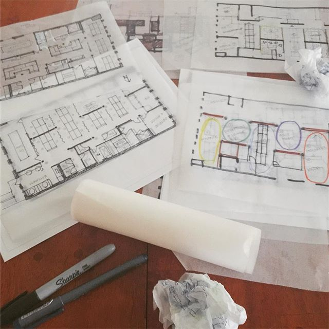 Wrapping up Schematic Design phase of our new advertising office and eager to get a jump on Design Development of this stunning SOHO space . . . . #2yokedesign #commercialdesign #officedesign #workplacedesign #collaborativespace #breakoutspace #wellnessintheworkplace #schematicdesign #sketching #tracingpaper #spaceplanning #designoptions