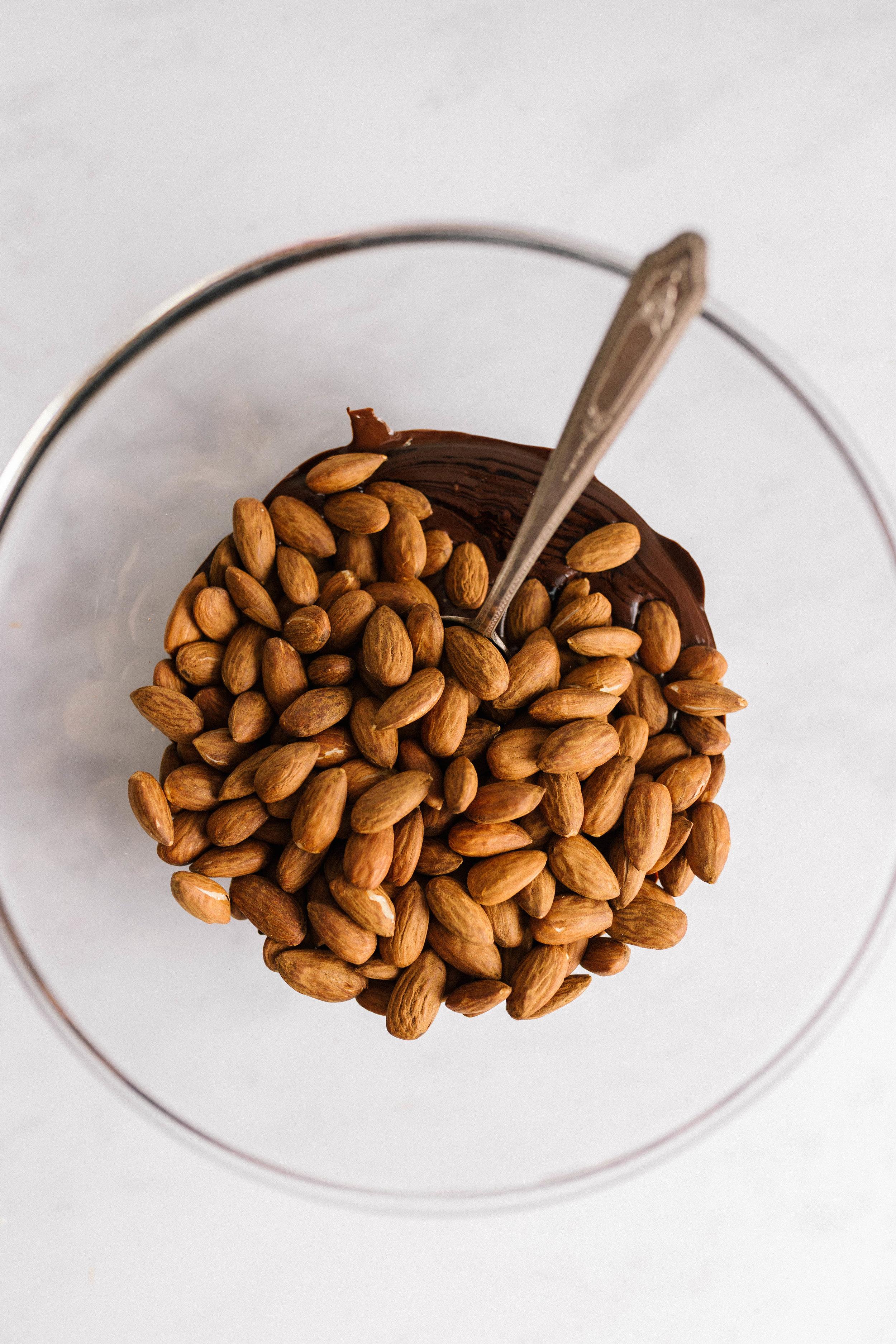 Salted Dark Chocolate Roasted Almonds | Joy Felicity Jane