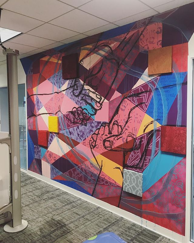 Fresh off her amazing thesis show, @zinkaproject did an incredible job with this mural at the @careorg offices this week! #multidisciplinary #mixedmedia #interdisciplinary #drawing #installation #women #livingmelodycollective #weloveatl #contemporaryart #womenartists #dowhatmakesyouhappy #youngcollectors
