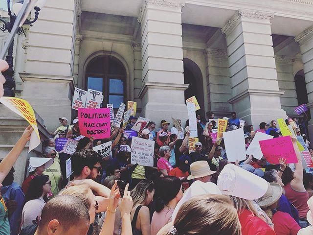 We stand with all uterus having humans.  #stopthebans #abortionrights #weloveatl #notrumpnokkknofascistusa #reproductivejustice #reproductivehealth #mybodymychoice #stopthebansatl