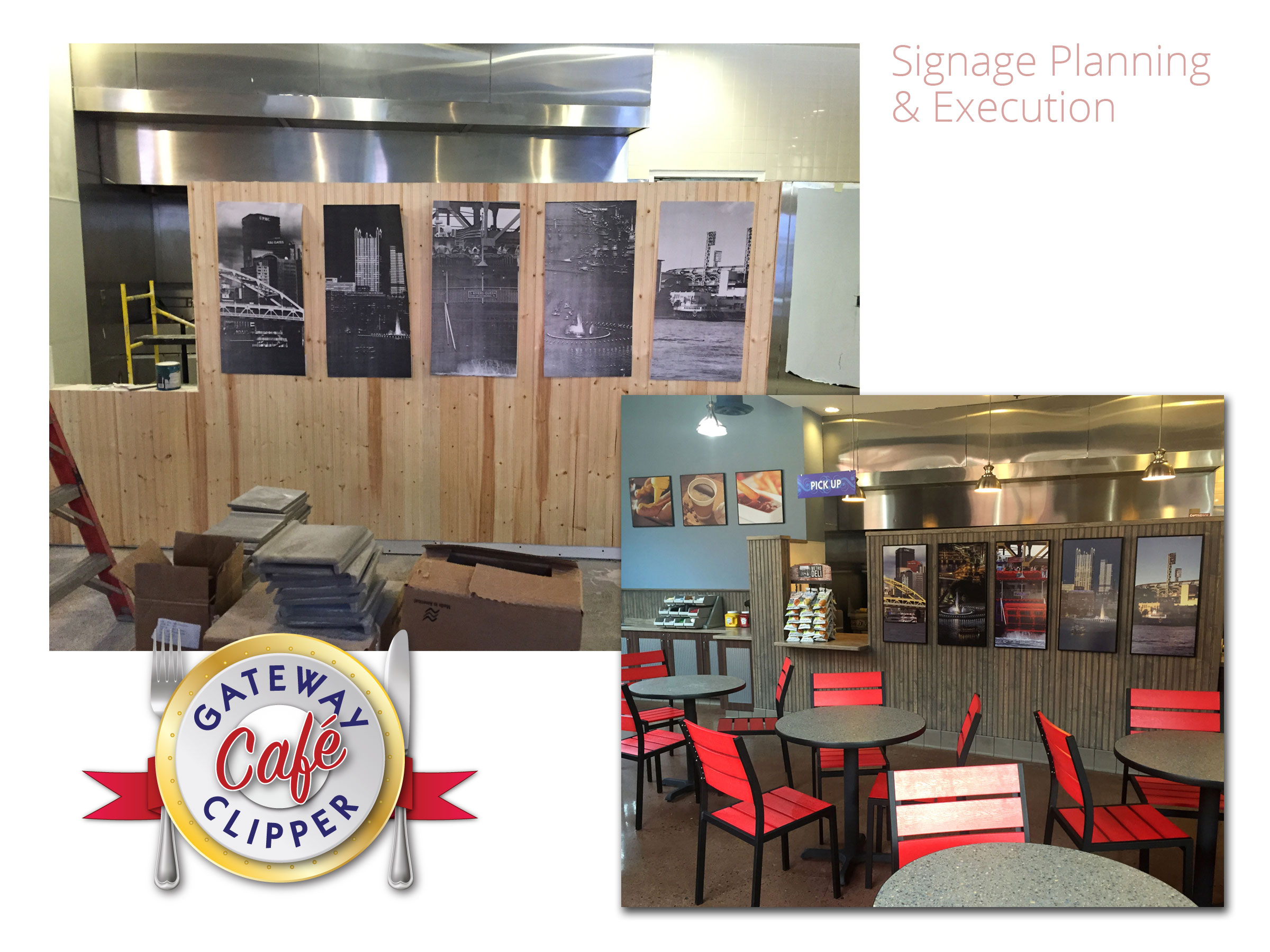 Gateway Clipper Café interior signage - concept, design and execution.  Example of working out the specifications while the restaurant was still being built!