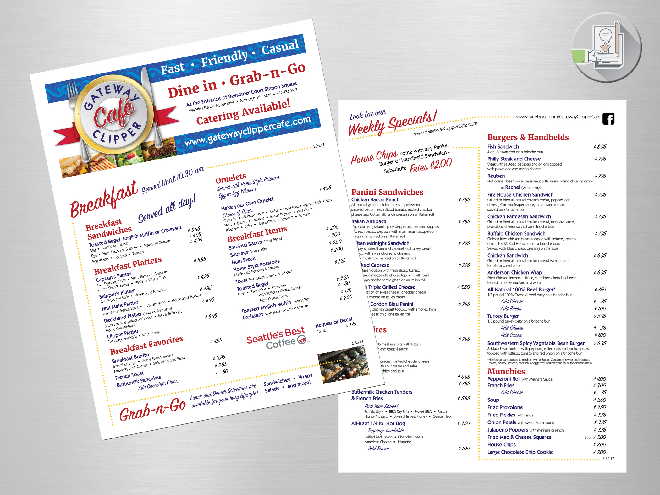 Gateway Clipper Café - menu