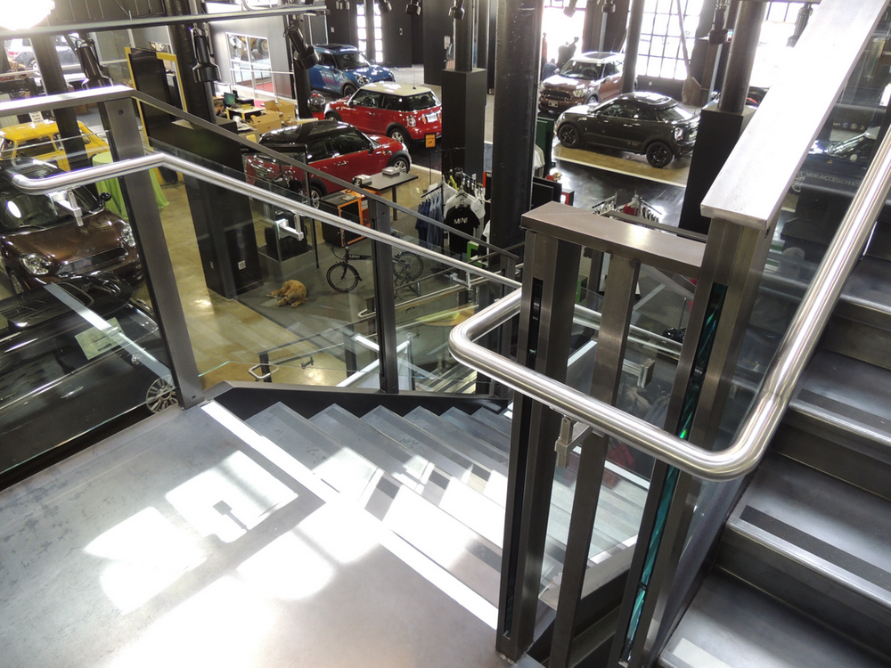 This polished steel railing fits perfectly into MINI's modern San Francisco offices.