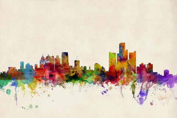 detroit-michigan-skyline- Michael Tompsett