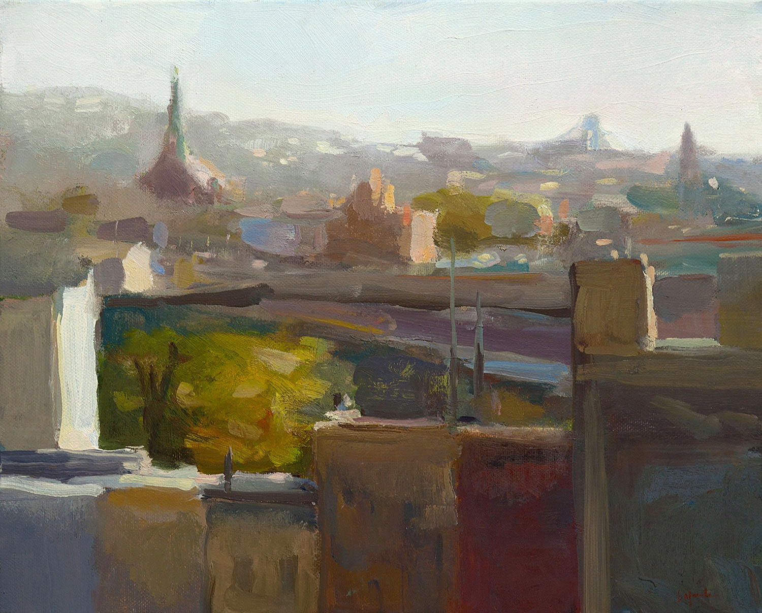 South Brooklyn with Steeples and Highway, 16 x 20""