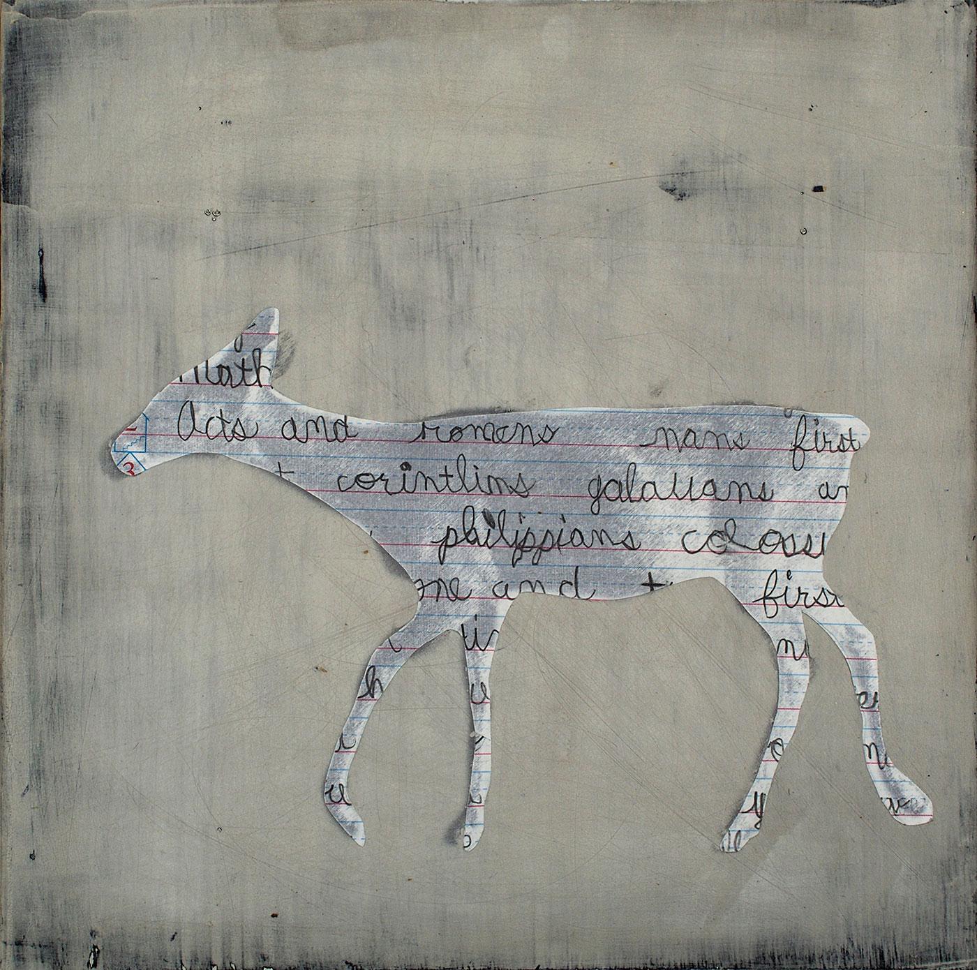 "Deer With Words II, mixed media, 12 x 12"""