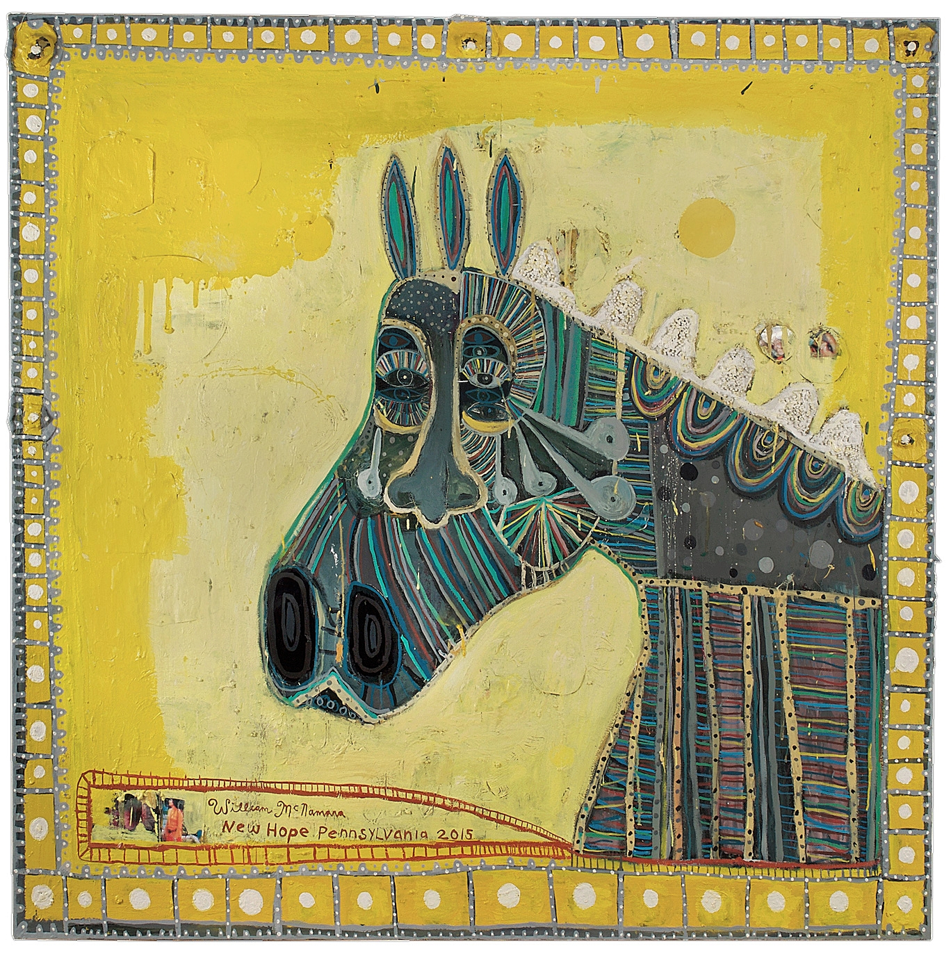 Horse Head on Yellow, mixed media, 60 x 60""