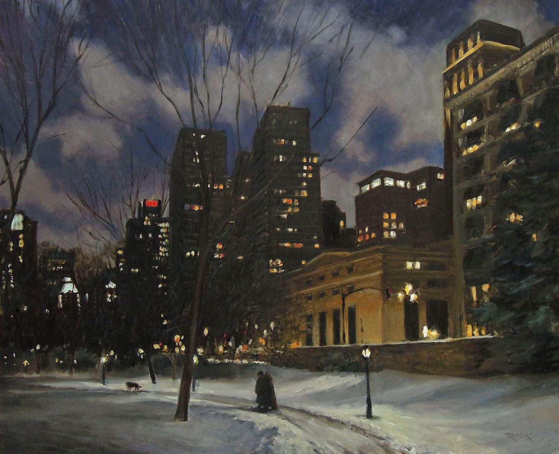 """Park Night, oil on panel, 24 x 30"""""""