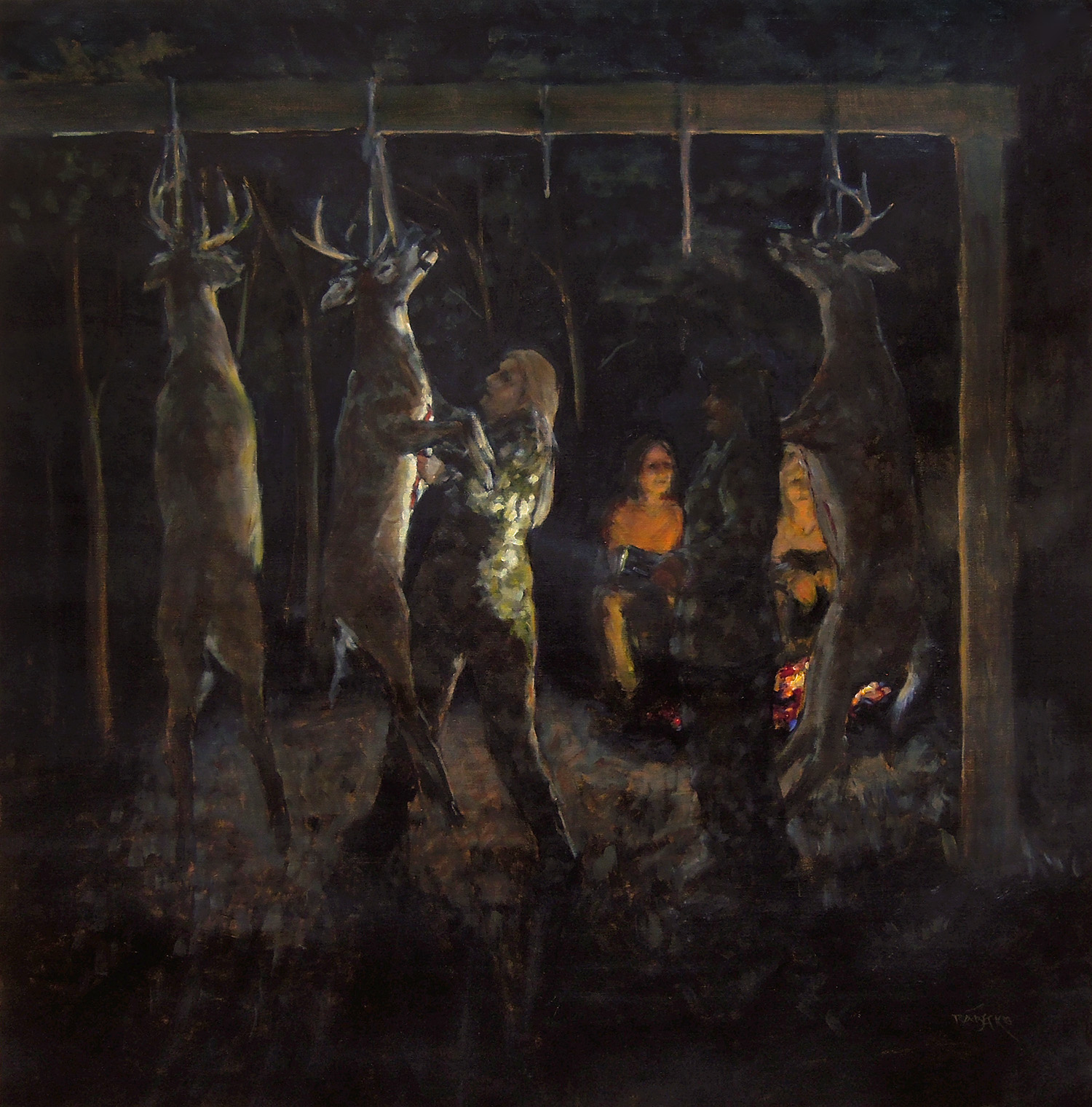 Hunting Party, oil on pnael, 38 x 38""
