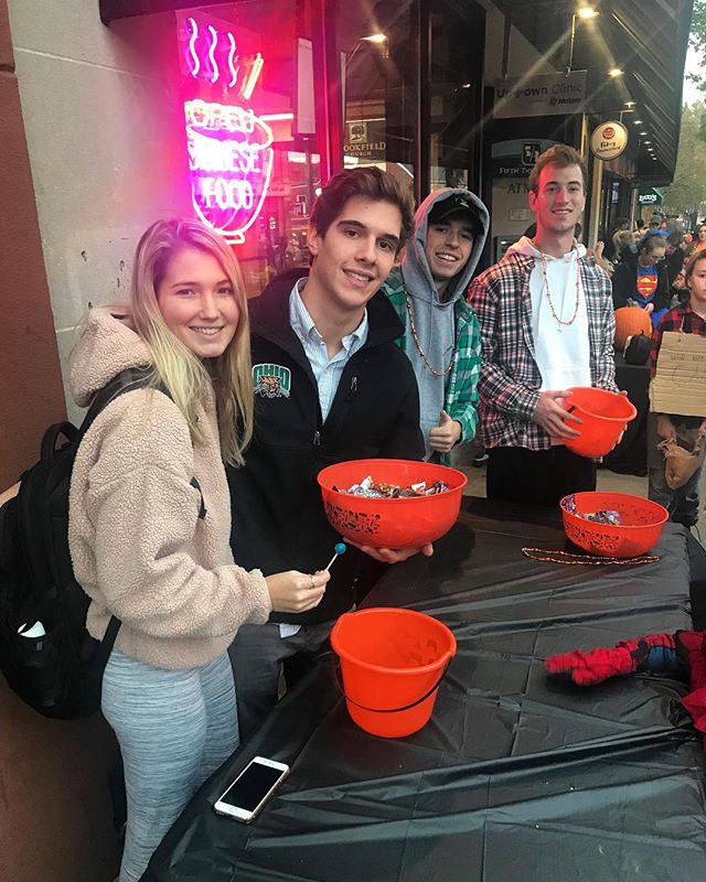 Trick or treat! 🎃 Find our actives passing out candy on Court Street!