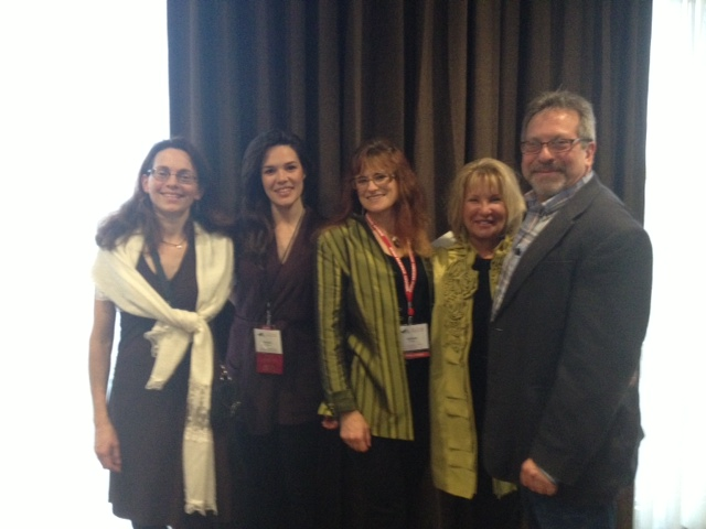 Right to left: Rubin Pfeffer, Deborah Warren, Stefanie Tatalias (me), Brooke Hartman conference co-chair, and Cynthia Monroe volunteer extraordinaire.