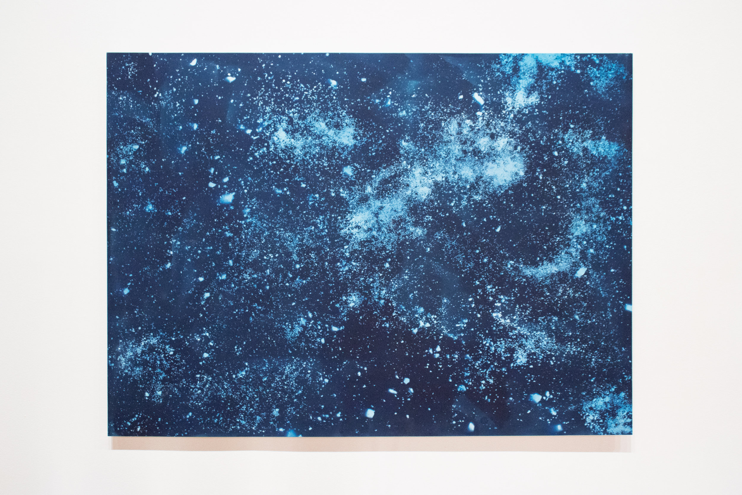 Site: Farm,   cyanotype on paper (rocks and residue extracted from clay sourced from Site), 44x60in