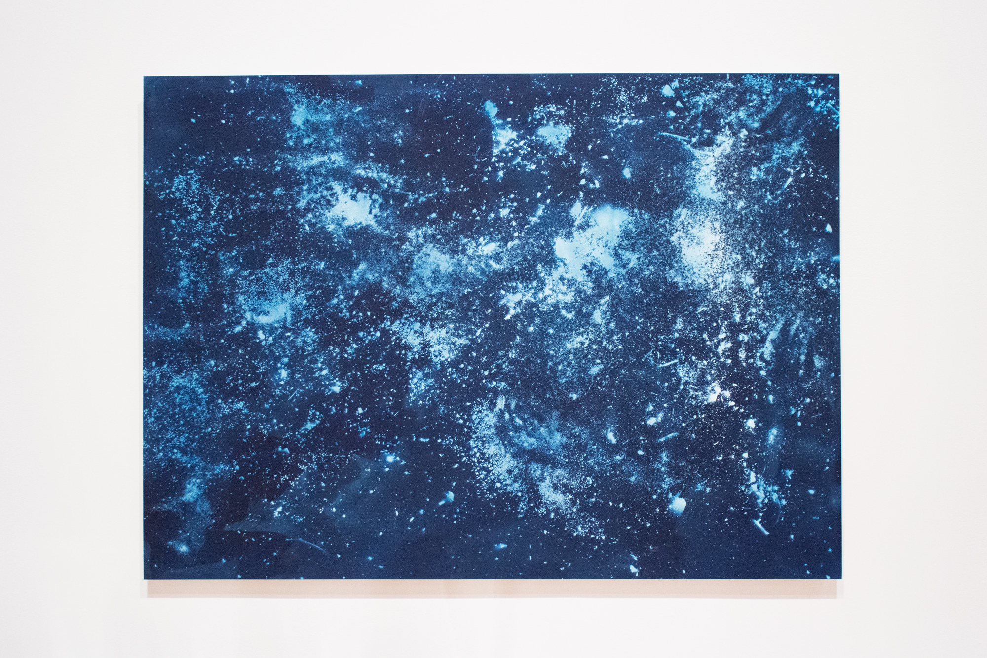 Planetarium (Pile)      | 2018 | 44x60in | cyanotype on paper (exposed with rocks and residue extracted from clay sourced from a construction pile at Mills College), mounted on wooden panel |  $2500  *does not include shipping outside of Bay Area