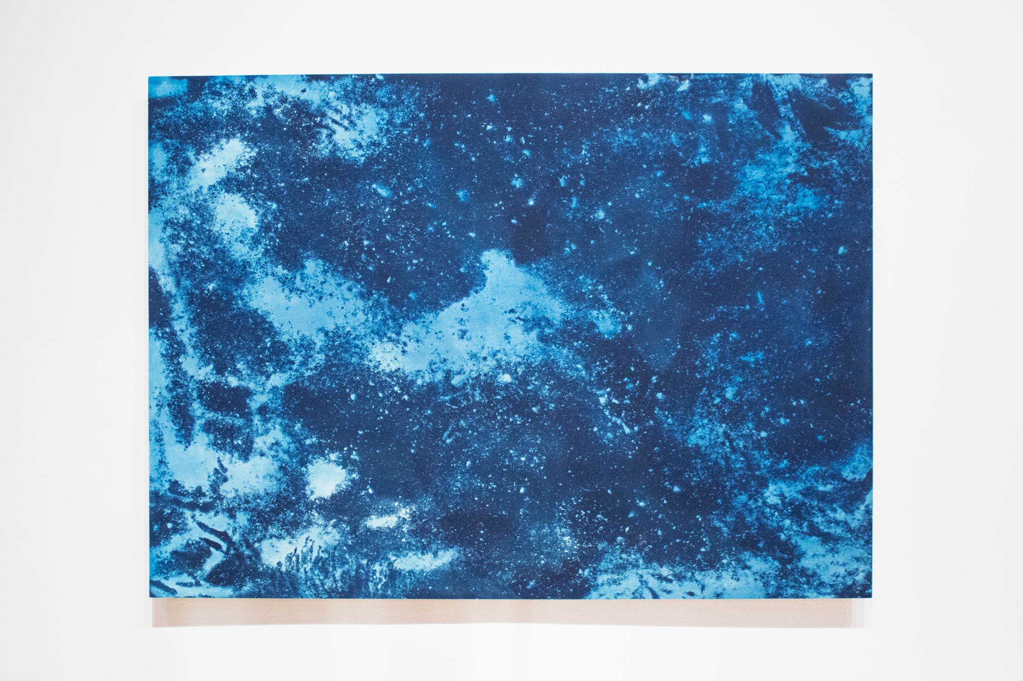 Planetarium (Path)      | 2018 | 44x60in | cyanotype on paper (exposed with rocks and residue extracted from clay sourced from a walking path at Mills College), mounted on wooden panel |  $2500 * does not include shipping outside of Bay Area