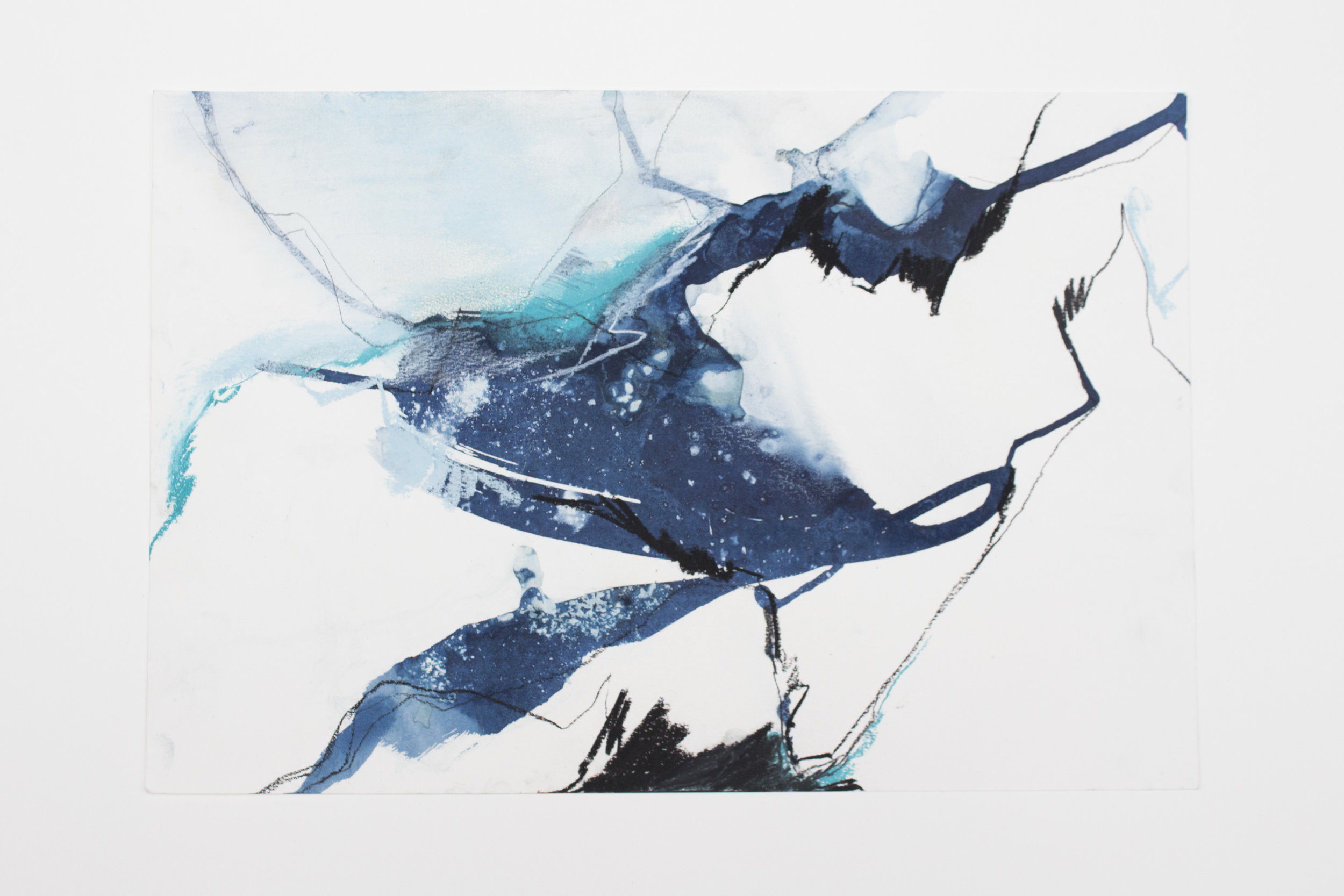 Tidewater #5     | 2018 | 12x18in | pastel, charcoal, and cyanotype on paper (exposed with stones and dirt sourced from the Juneau Icefield and the coast of SE Alaska, fixed with ocean and glacier water) |  $250