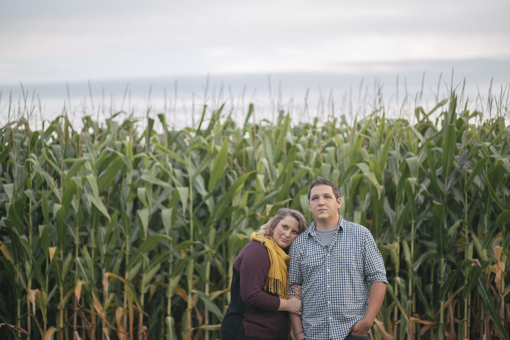 cornfield hugging couple
