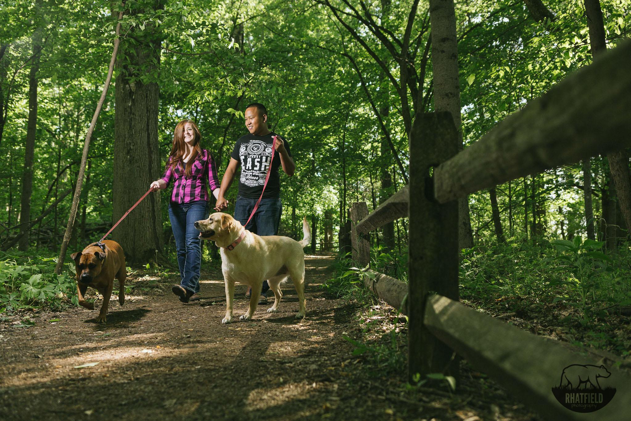 engaged-dog-walking-trail