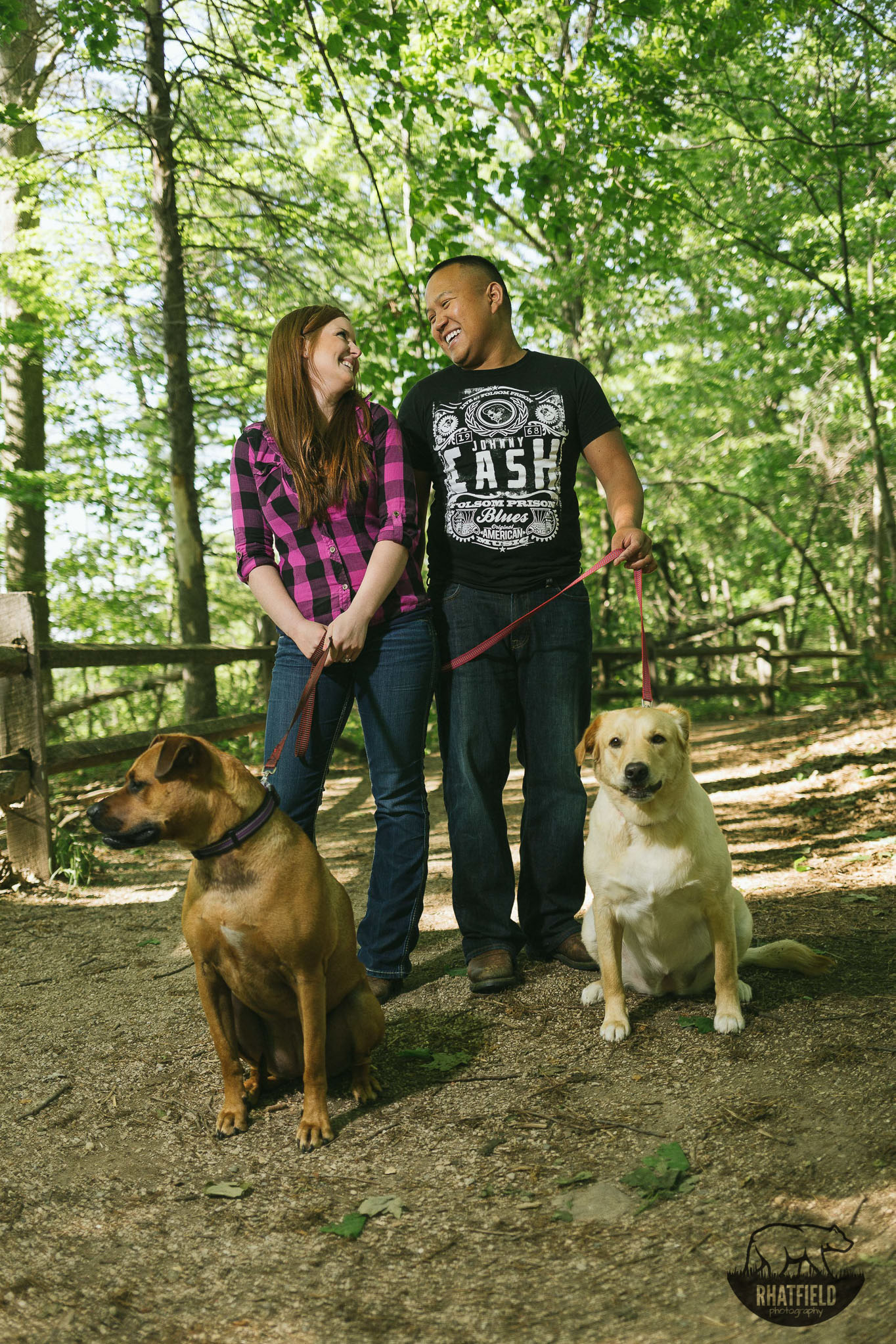 purple-plaid-posing-two-dogs-woods