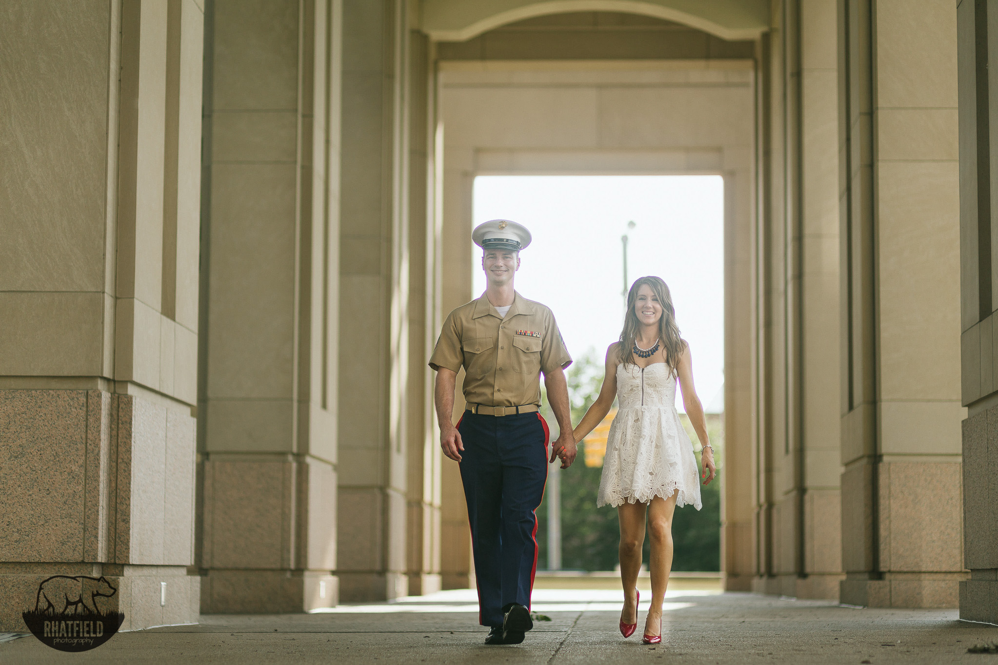 marine-walking-with fiance-hall