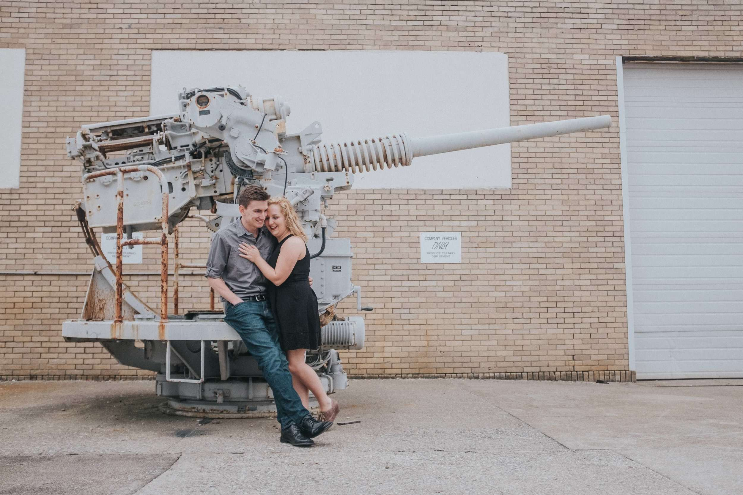 old-industrial-turret-engagement-session