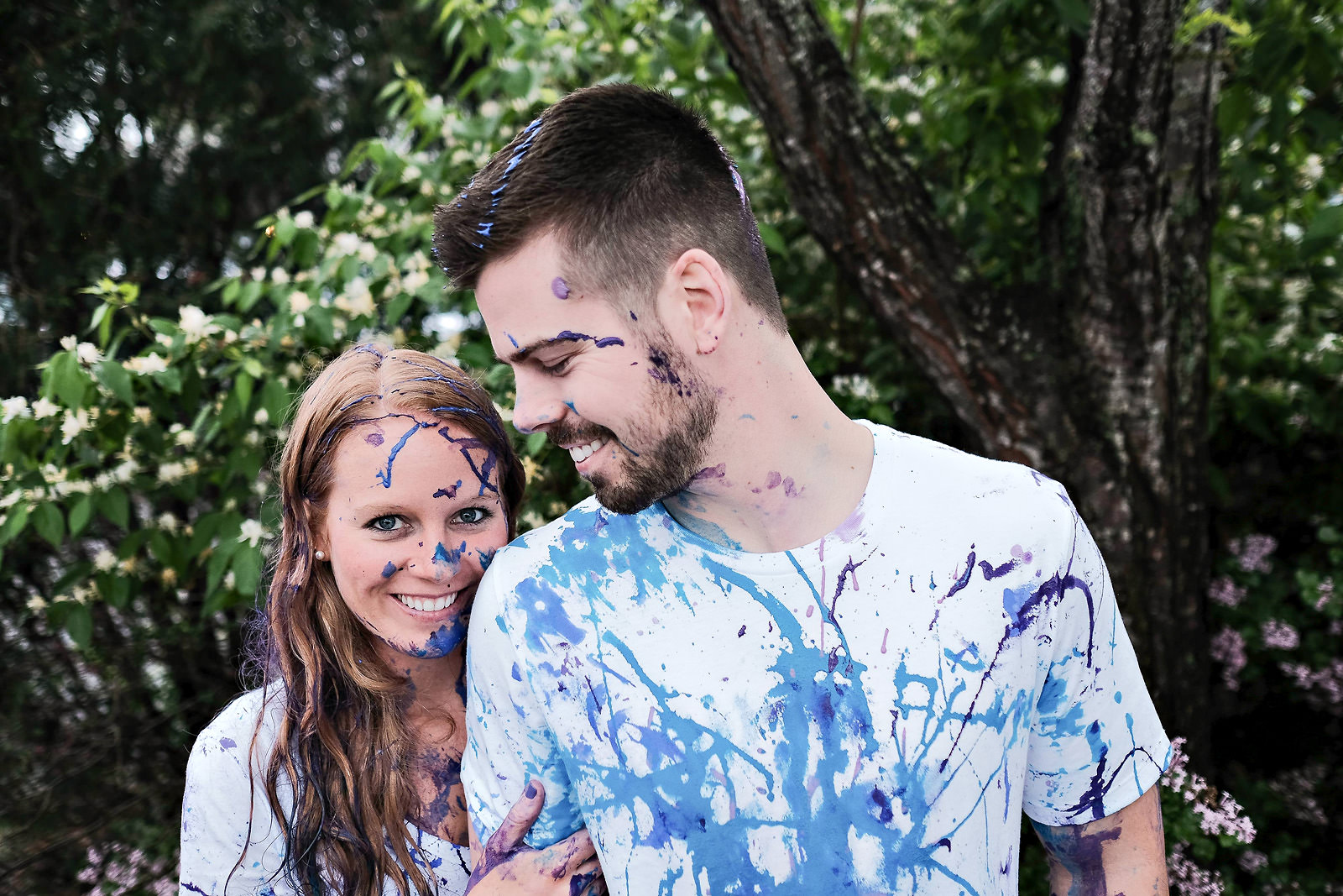 painted-face-engagement-couple