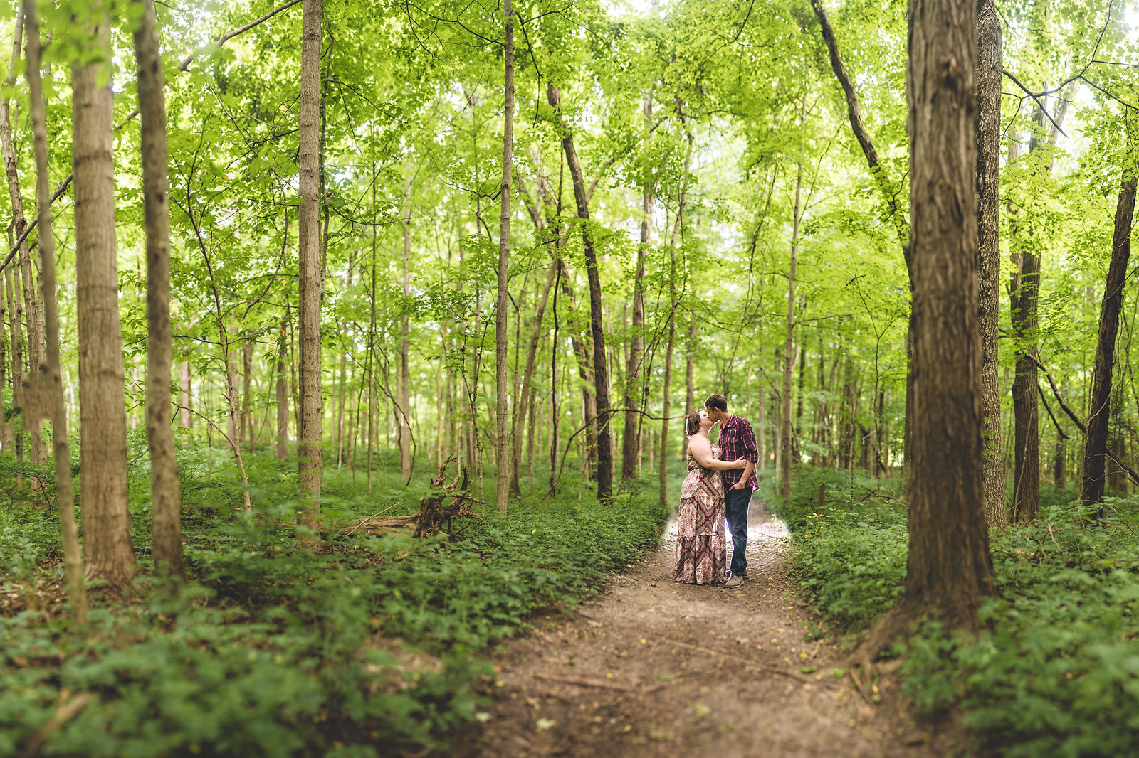 engagement session brenizer in the woods