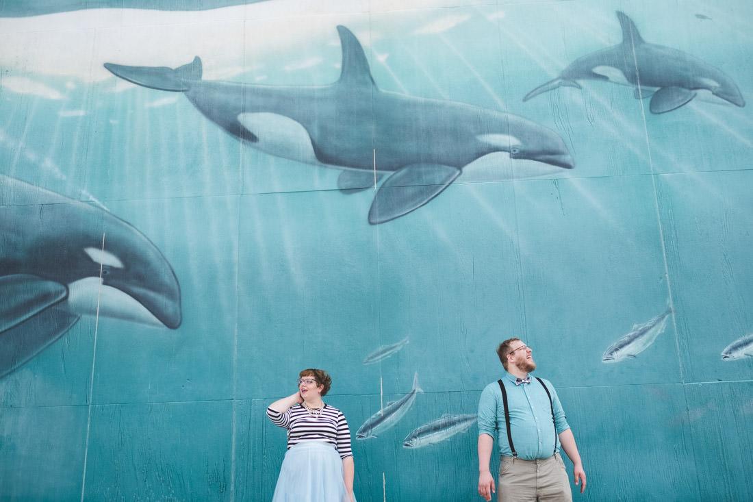 Mass Ave whale art wall