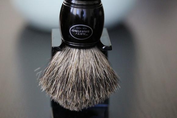 Convenient holder for the badger brush.