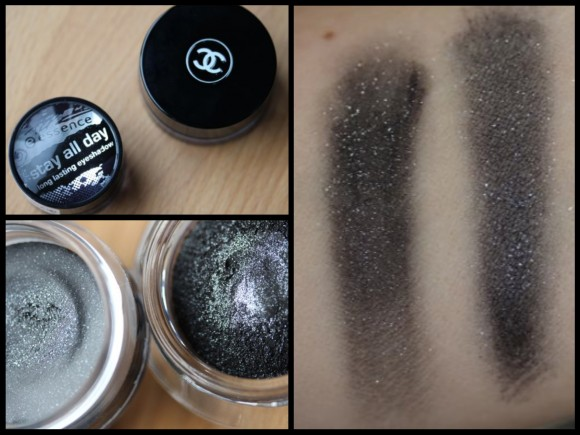 Chanel's Illusion D'Ombre in Mirifique versus Essence Stay All Day Long Lasting Eyeshadow in Rock Chic