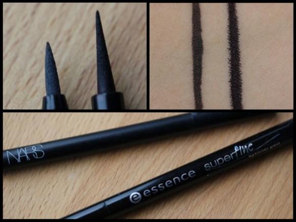 NARS' Eyeliner Stylo in Koala (gray) versus Essence Superfine Eyeliner Pen in black