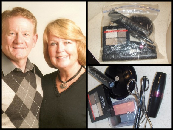 Karen (left with her husband Brian) and her makeup bag (right)