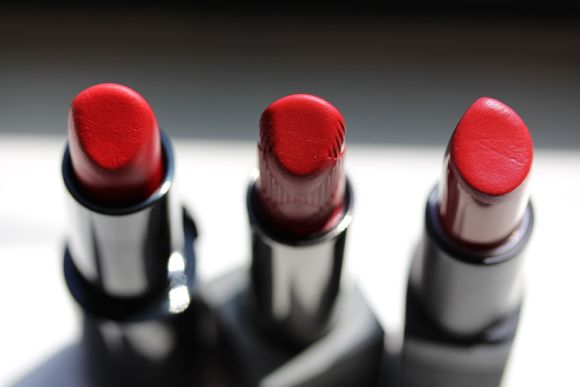 The lineup: Rouge d'Armani 400 (left), Pink Fuchsia (centre) and NARS' Flamenco (right)
