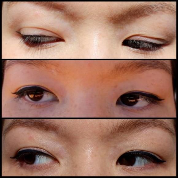 Wearing FOA Liquid Eyeliner (top to bottom): Charcoal, Black & Navy