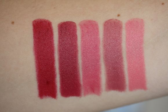 Swatches from left to right: Berry Intense, Innocence, Brigitte, Inspiration & Warm Mauve