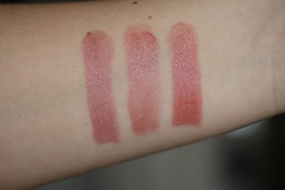 Comparison swatches working from left to right: NARS Cruising, Armani's Brown 202 and YSL's