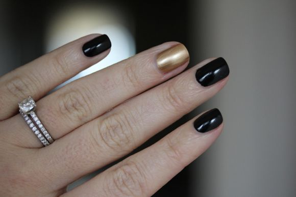 Essie's Licorice (black) and Hello Darling's Trumped (gold)